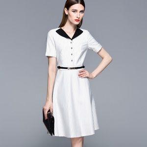White body shape wide bottom black collar dress